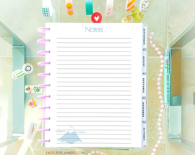 Notes Inserts Printable Big Happy Planner Inserts Letter Size 8.5 x 11