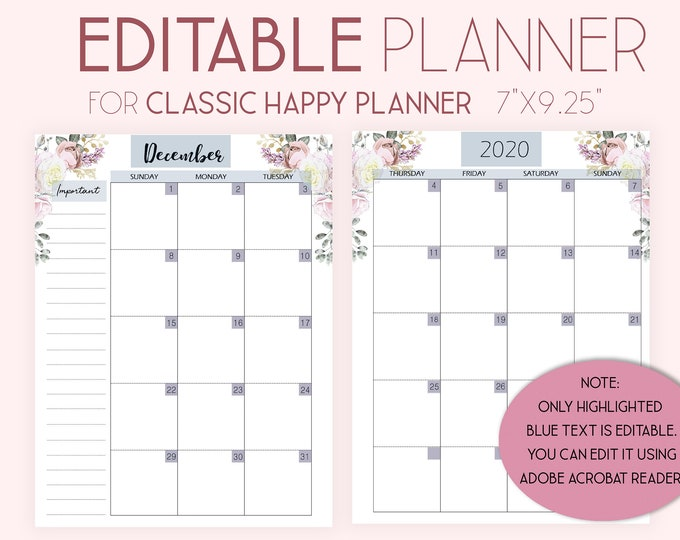 Featured listing image: Editable Planner, 2020 Monthly Planner Pages, Mo2P, Monthly Layout made to fit Happy Planner Template