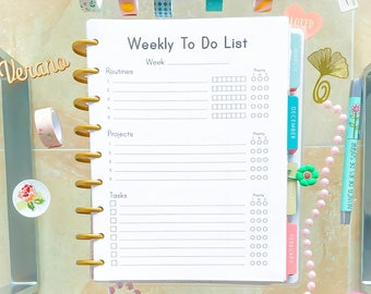 Happy Planner Printable Weekly To Do Week Inserts Printable PDF ECLP Refill 7.25x9.25 Weekly Tasks Projects Refill Made to Fit Erin Condren