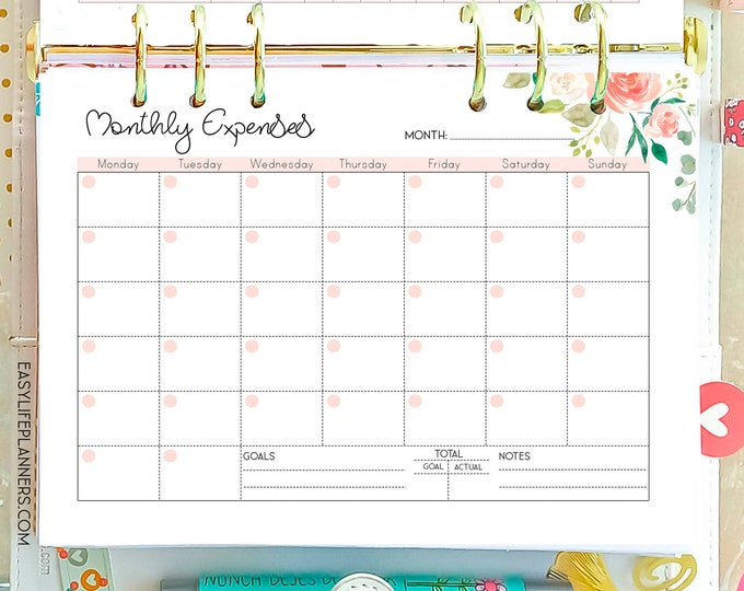 Expense Tracker A5 Budget Planner, Filofax Inserts A5 Printable.