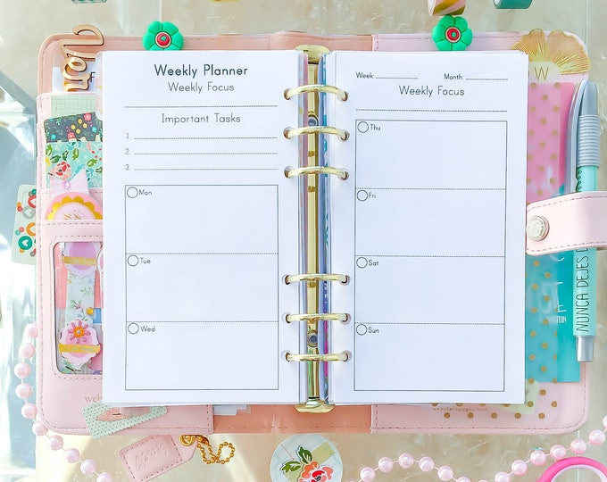 WEEKLY Planner Pages, Filofax refills, Printable Agenda