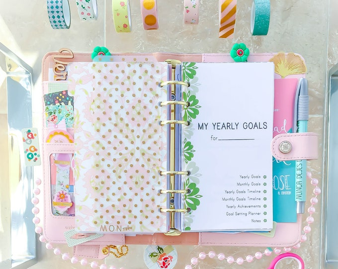 YEARLY GOALS Planner, Personal size insert, filofax personal refill, printable Goal Tracker