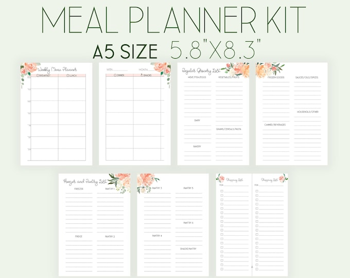 Menu Planner A5 Planner Inserts Weekly Meal Plan Printable A5 Filofax Inserts