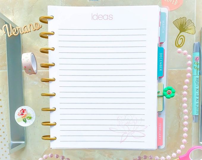Happy Planner Prinable Insert IDEAS Printable 7x9 Lined Paper Mambi Planner Pages Made to Fit Erin Condren Life Planner Instant Download