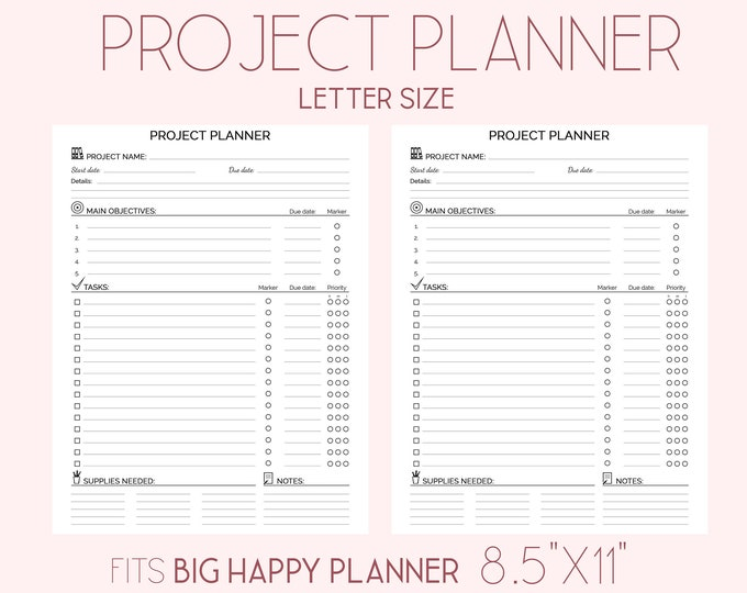 PROJECT PLANNER Big Happy Planner Inserts Black And White Printable pdf Letter size Project Management Project To Do list Craft planner