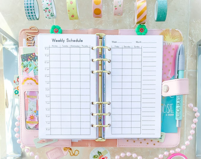 WEEKLY SCHEDULE Personal Size Filofax PDF 3.7x6.7 inches Weekly Planner Book Printable  Undated Weekly Organizer To Do Instant Download.