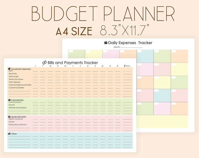 Budget Planner Printable, Expense Tracker, Bill Tracker, Bill Organizer, Financial Planner