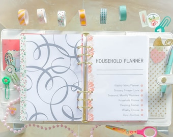 A5 Inserts HOUSEHOLD BINDER Filofax Cleaning Checklist Home Management Binder PDF House Daily Routine Homekeeping Instant download 11 pages