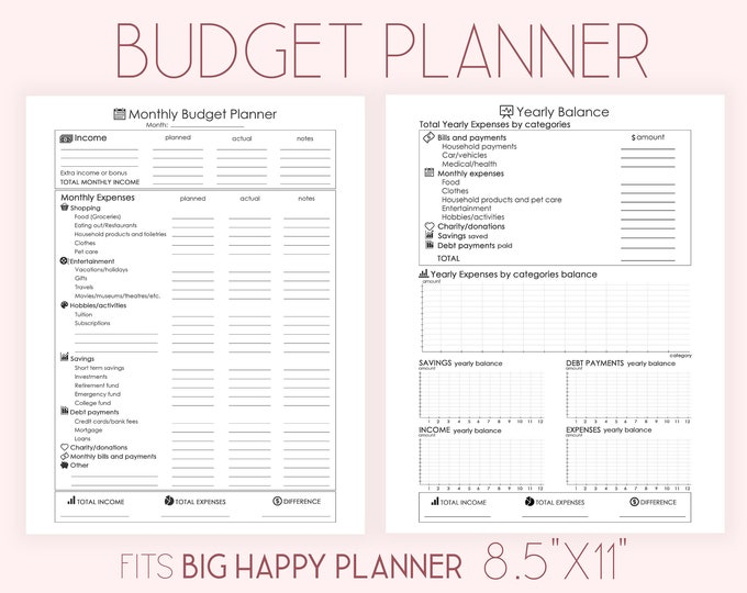 Monthly Budget Planner Printable Financial Planner Insert for Big Happy Planner Inserts