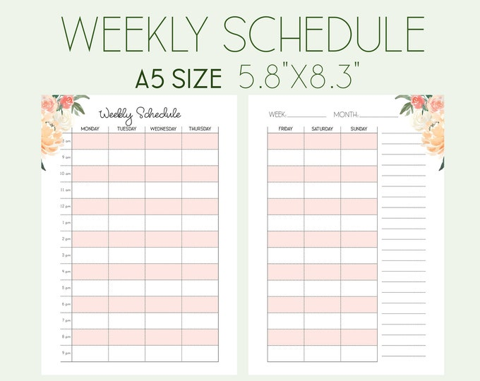 Weekly Schedule Weekly Planner A5 Planner Inserts Filofax A5 Printable To Do List