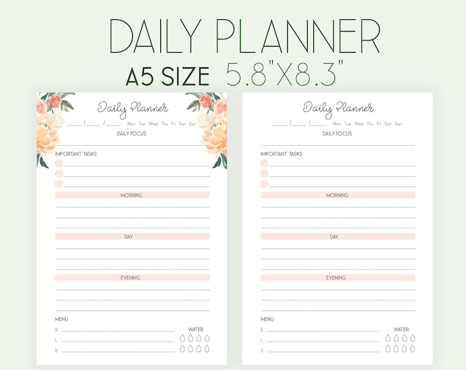 Daily Planner Pages, A5 Printable Planner Inserts, DO1P
