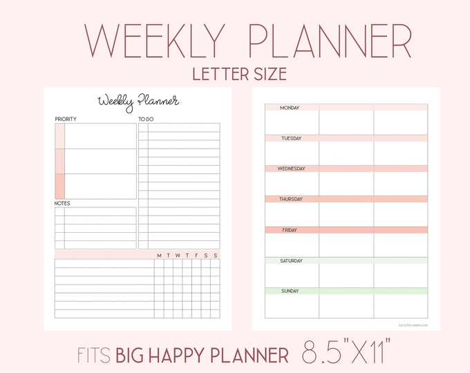 Printable Weekly Planner Pages, Big Happy Planner Inserts, Weekly Agenda, WO1P,