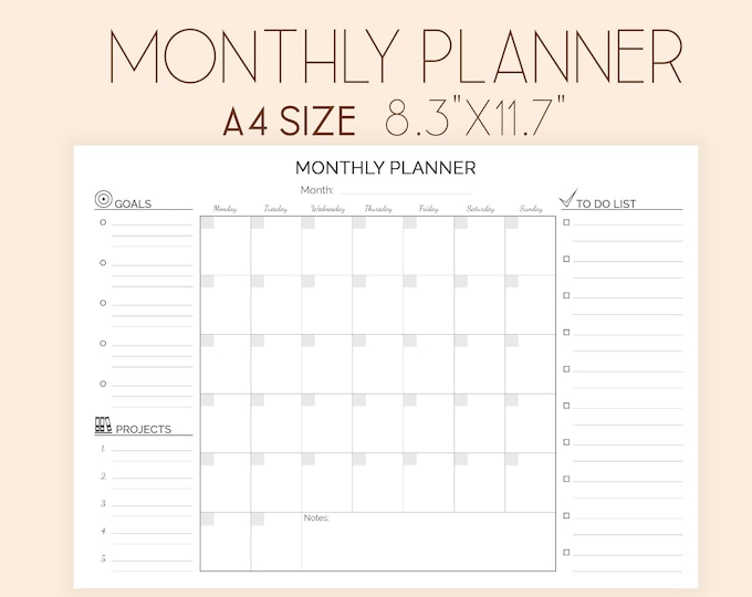 Monthly Planner, Binder Inserts, Perpetual Planner, Instant Download