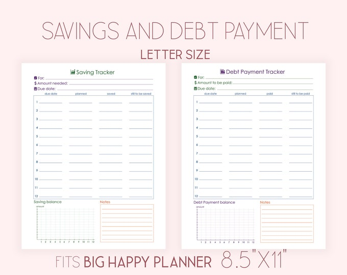 Savings Tracker, Debt Payment Tracker, Debt Payoff Tracker fits Big Happy Planner Inserts