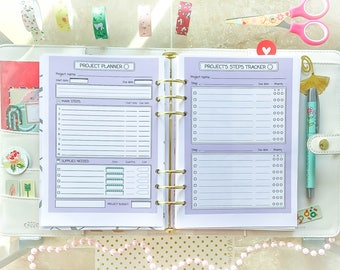 Project Planner Printable A5 Filofax Insert Productivity Planner Inserts Task Tracker Template Work Printable Planner PDF