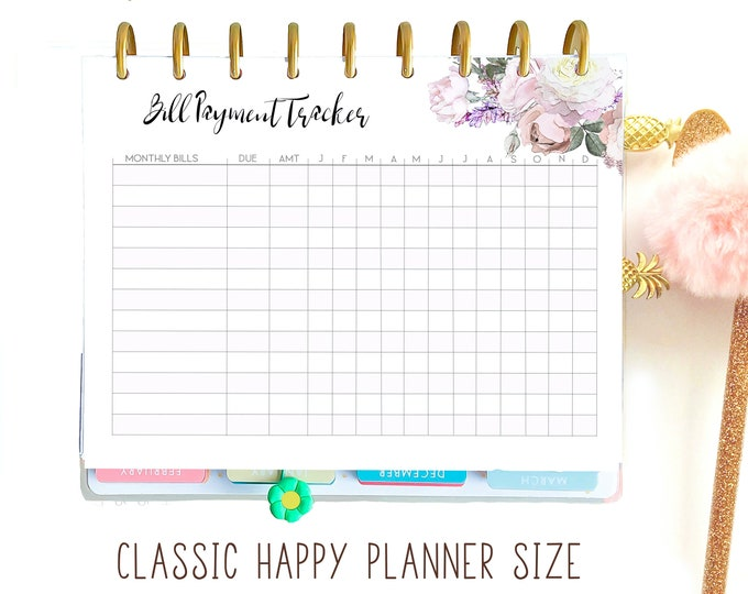 Bills Organizer made to fit Classic Happy Planner Inserts Printable, Budget Planner Printable 7 x 9