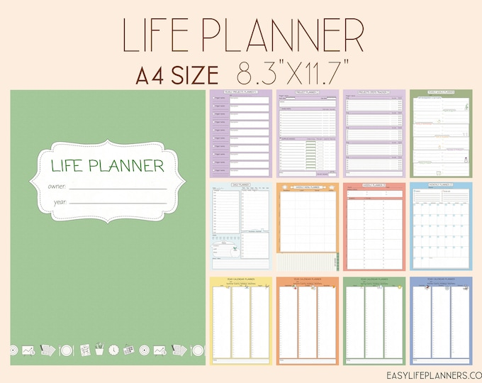 Life Planner Pages, Printable Mom Life Planner, Binder Inserts, Instant Download.