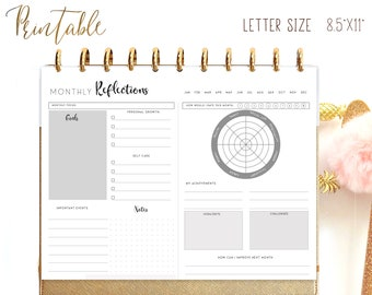 Monthly Reflection Journal, Monthly Planner Printable for Big Happy Planner Inserts, Personal Growth, Setting Planning