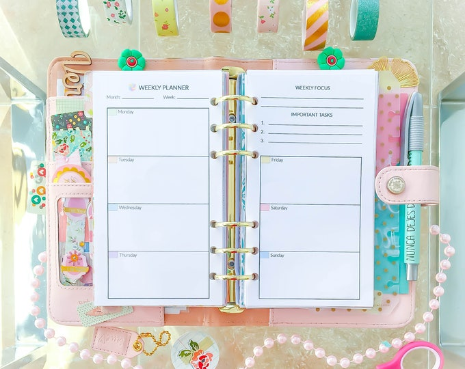Weekly Planner pages, Week on 2 Pages, filofax personal insert