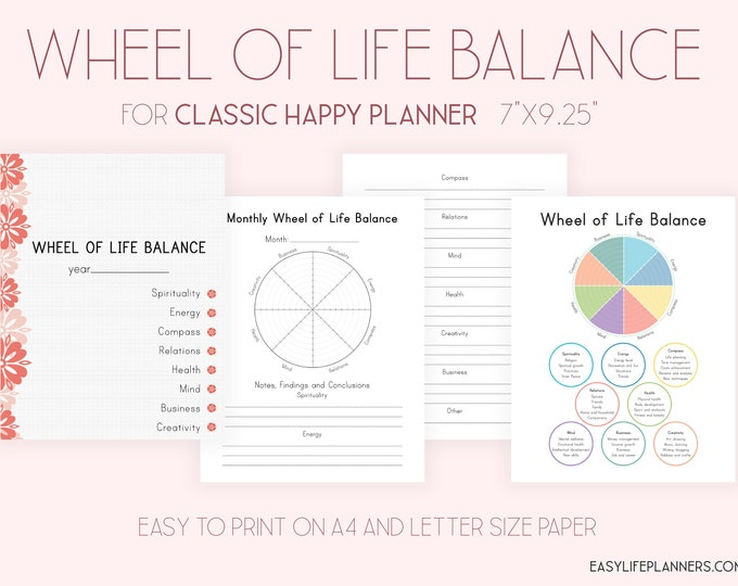 Happy Planner Inserts, Wheel of Life Balance,  Made To Fit Erin Condren Planner