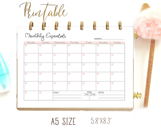 Expense Tracker A5 Budget Planner Printable, Filofax Inserts A5 Printable.