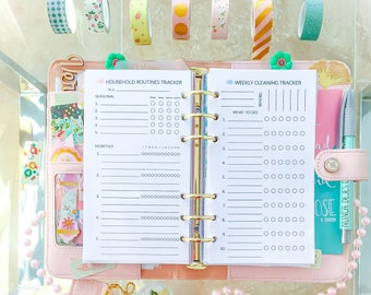HOUSEHOLD ORGANIZER Personal Size. Filofax inserts 3.7x6.7 inches Cleaning Checklist Schedule pdf. DIY Planner household. Instant Download.