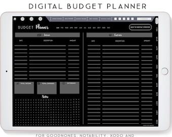 Dark Mode Digital Planner, Budget Planner, Notability Planner, xodo digital planner, Goodnotes Template, iPad Planner.