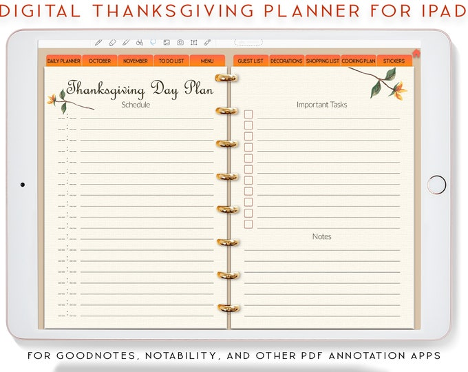 Thanksgiving Planner, Digital Planner, Goodnotes Planner, Stickers for ipad, Thanksgiving Menu, Notability Planner,