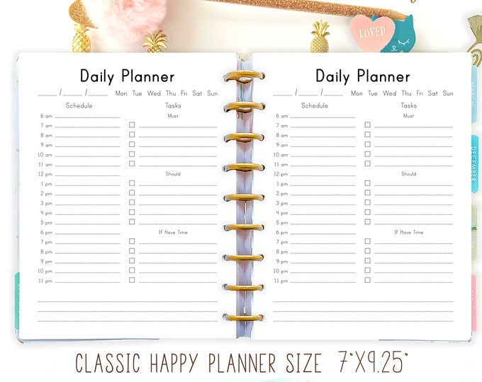 Happy Planner Insert Daily Planner Printable Refills PDF Organizer DIY Mambi Daily Agenda 7 x 9 Made to Fit Erin Condren Planner