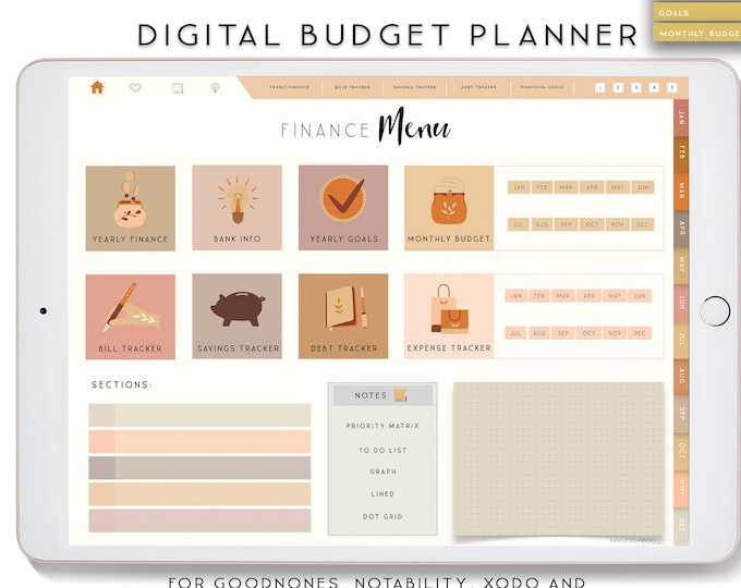 Digital Planner, Notability Planner, Budget Planner, Goodnotes Planner for iPad, Boho Digital Planner.