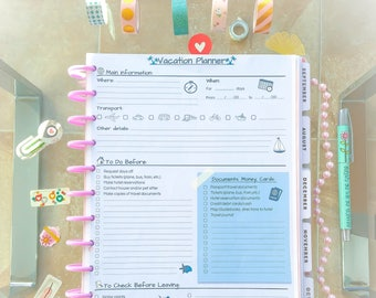 Big Happy Planner Inserts Travel Printable Letter Size Vacation Planner Packing Checklist Trip Schedule Printable Travel Checklist