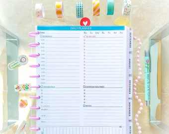 Daily Planner Printable Letter Size  Binder Insert PDF Daily Agenda Day Organizer To Do Life Organization Planner Pages Instant Download