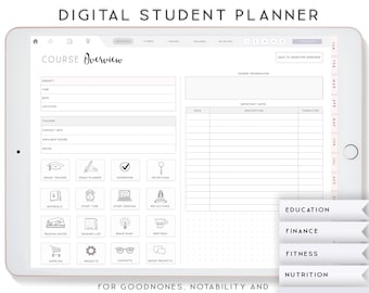 Digital Student Planner, Digital Planner for iPad, Notability Planner, Goodnotes Template, Academic Planner, College Student Planner