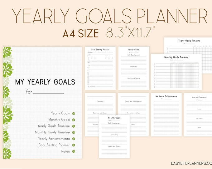 Productivity Planner, Goals planner, Printable Inserts, Yearly Goals, Binder Inserts.