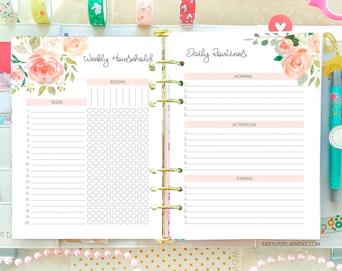 Household Planner Printable A5 Planner Inserts, Cleaning Checklist, Clenaing Printable