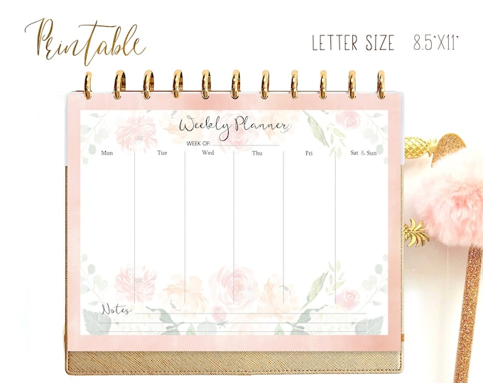 Weekly Planner Pages, Floral Planner, Printable, Letter Size Planner