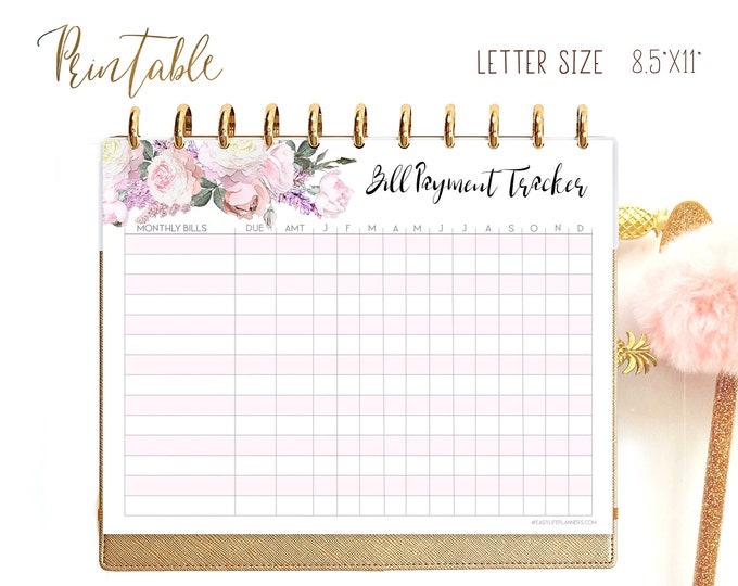 Bill Tracker Printable Letter Size planner, Monthly budget, Finance planner for Big Happy Planner Insert.