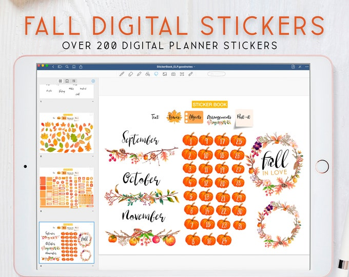 Fall Stickers, Goodnotes stickers, Digital Stickers for iPad, Autumn Stickers for Digital Planner.