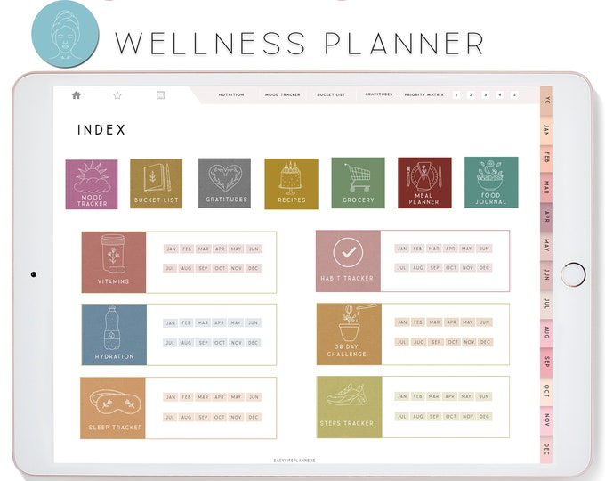 Digital Wellness Planner for iPad, Notability Planner, XODO Planner, Goodnotes Planner, Habit Tracker