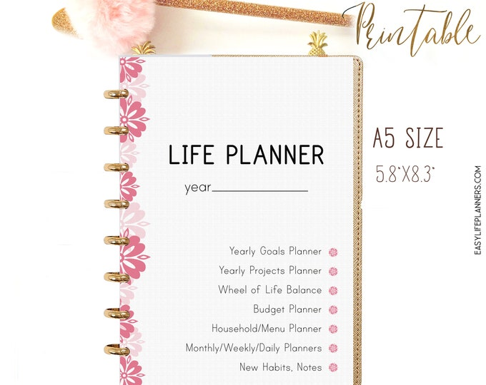 Life Planner 2021, A5 Printable Planner Inserts, Life Organizer