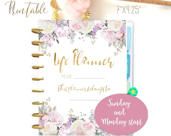 Life Planner 2021 made to fit Classic Happy Planner Printable and Erin Condren Inserts Sunday and Monday Start