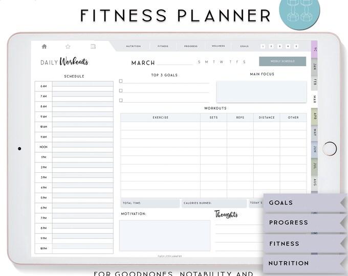 Fitness Planner, Digital Planner Ipad, Notability Planner, Fitness Journal, Goodnotes Template, Wellness Planner