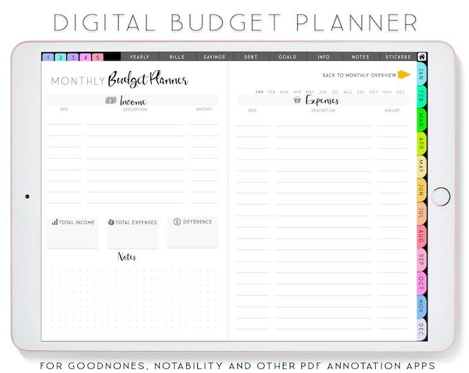 Digital Budget Planner iPad Planner, Goodnotes Planner, Notability Planner, Finance Planner