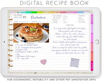 Digital Recipe Book, Goodnotes Recipes, Digital Planner for iPad, Notability Planner, Recipe Book Template, Recipe Planner