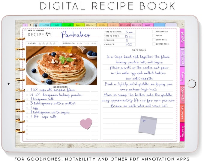 Digital Recipe Book, Goodnotes Recipes, Digital Planner for iPad, Notability Planner, Recipe Book Template, Recipe Planner