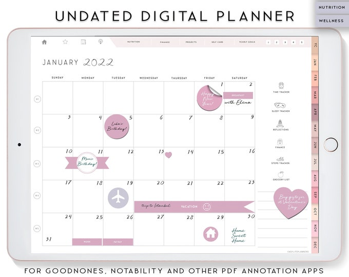 Undated Digital Planner for iPad, Notability Planner, Digital planning, Budget Planner, Life Organizer, XODO Planner, Goodnotes Planner.