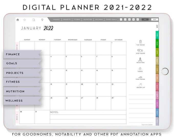 Digital Planner 2021 2022, Budget Planner, Planner iPad, Notability Planner, Goodnotes Template, Wellness Planner, Fitness planner,