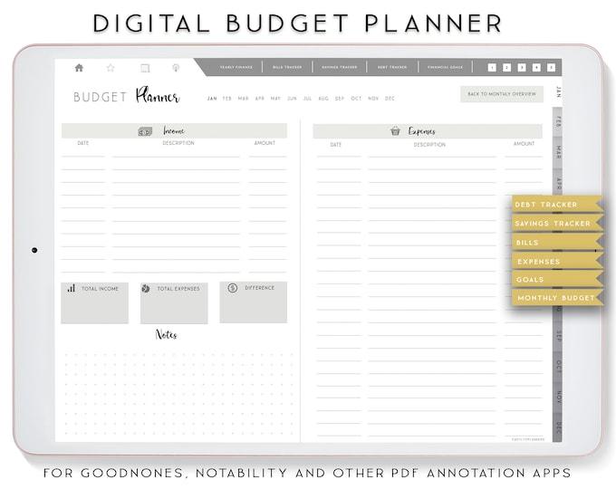 Budget Planner, Goodnotes Planner, Digital Planner, Finance Planner, Notability Planner, XODO Digital Planner, iPad Planner.