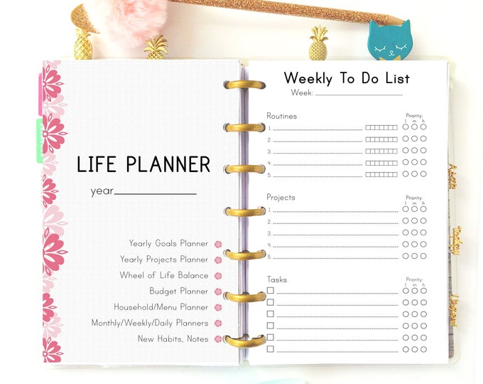 Printable Life Planner 2021, Productivity planner, Mini Happy Planner Inserts
