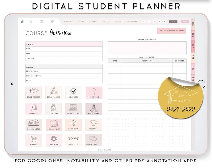 Student Digital Planner 2021 2022, Digital Planner iPad, Notability Planner, Goodnotes Template, Academic Planner, College Student Planner